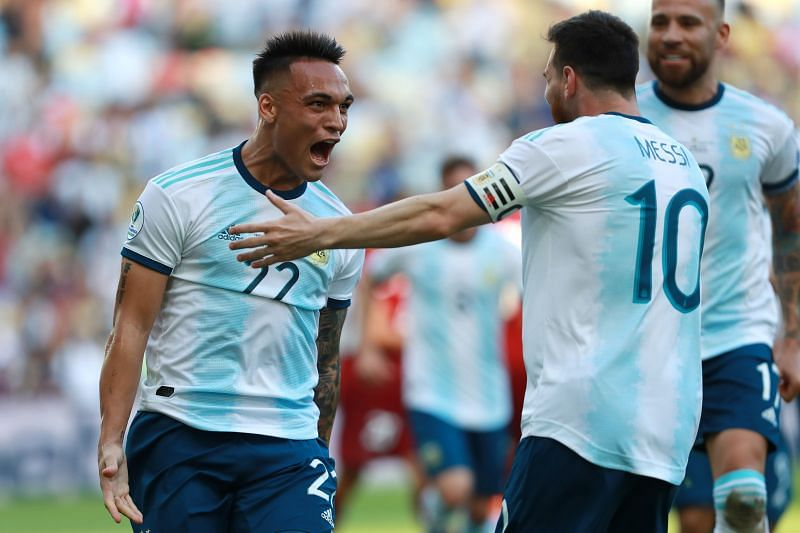 Lionel Messi and Lautaro Martinez play together for Argentine