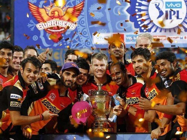 Sunrisers Hyderabad celebrating their IPL trophy in 2016