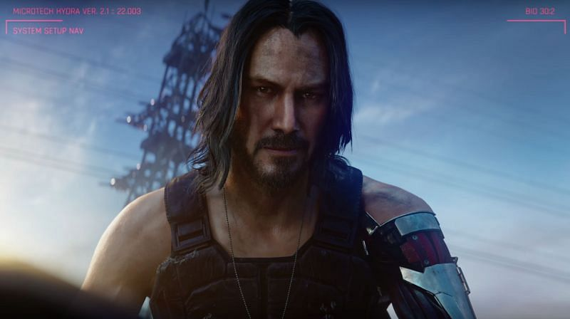 Keanu Reeves as Johnny Silverhand in Cyberpunk 2077 (picture credits: gamespot trailers)