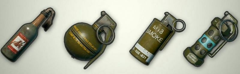 The various throwables in PUBG mobile.