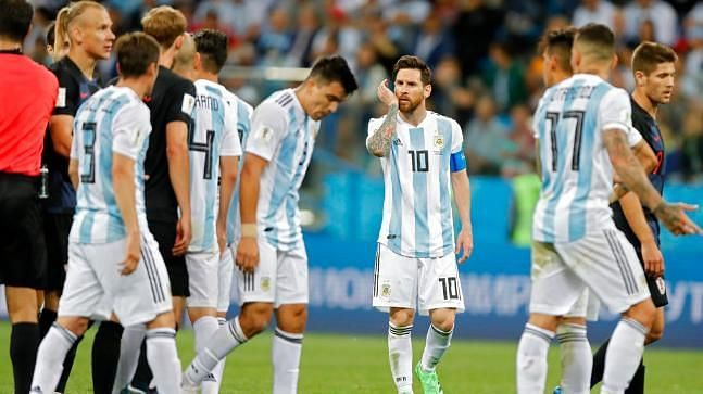 Lionel Messi wears a despondent look as Argentina exited the 2018 World Cup in the Round of 16 stage.