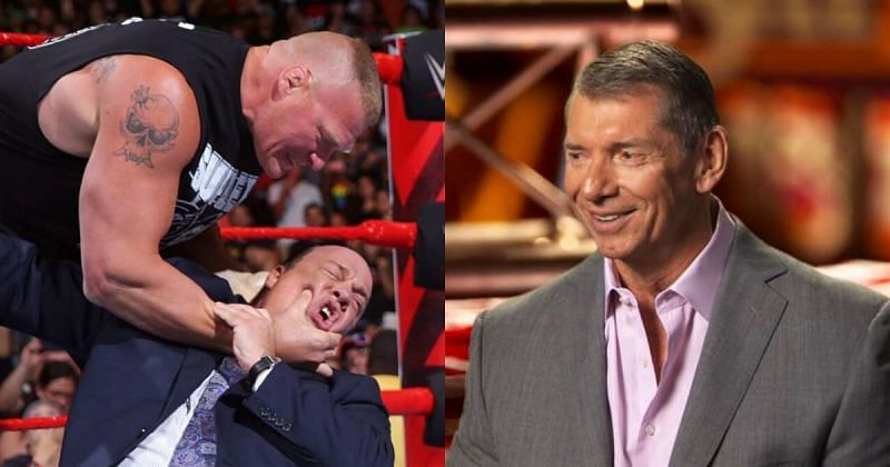 Brock Lesnar, Paul Heyman and Vince McMahon