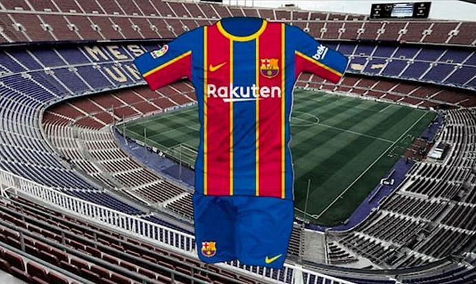 A rendered image of the full Barcelona 2020/21 home kit