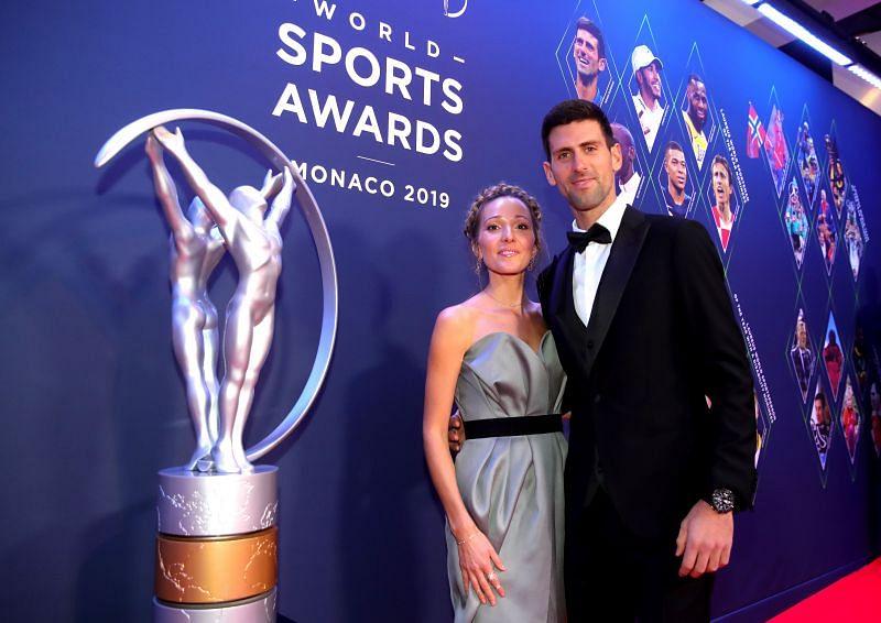 Novak Djokovic with his wife Jelena at the World Sports Awards