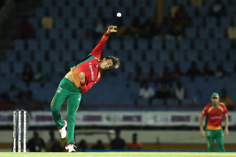 Chris Green bowls for Guyana Amazon Warriors in CPL.
