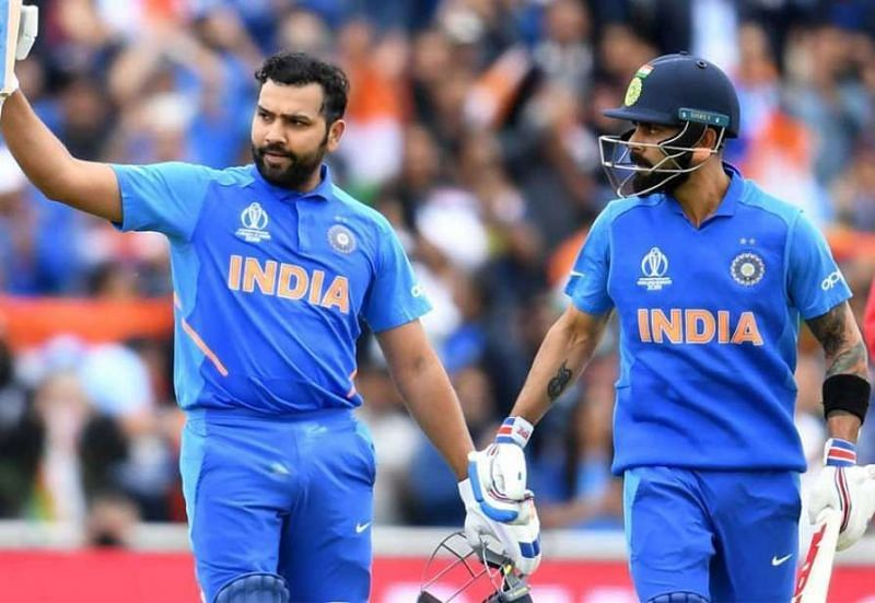 Rohit Sharma and Virat Kohli during the ICC Cricket World Cup 2019