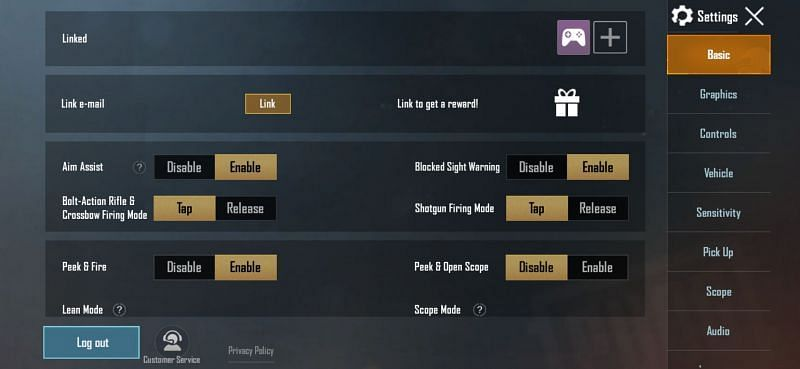 PUBG Mobile: You will be redirected here after selecting the settings icon