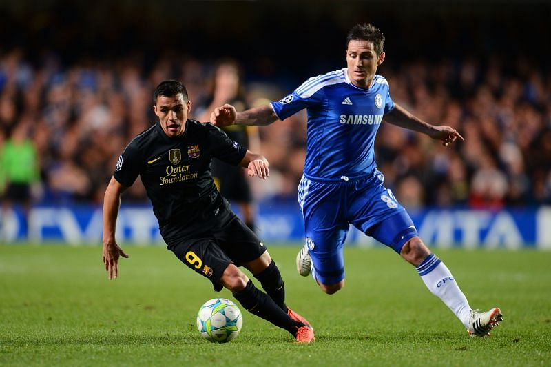 Chelsea's Frank Lampard (right) vies for the ball with Barcelona's Alexis Sanchez in the 2011-12 UEFA Champions League Semi-Final first leg at Stamford Bridge.