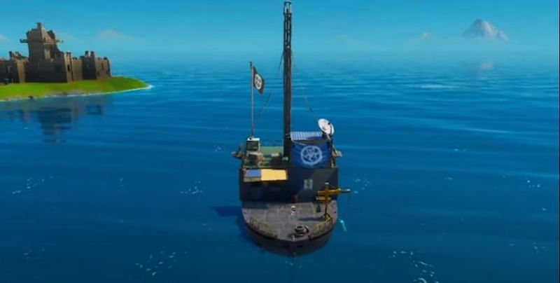 Boat with Ghost banner in Fortnite Season 3 (Image Credits: ChilliNikov / Epic Games)