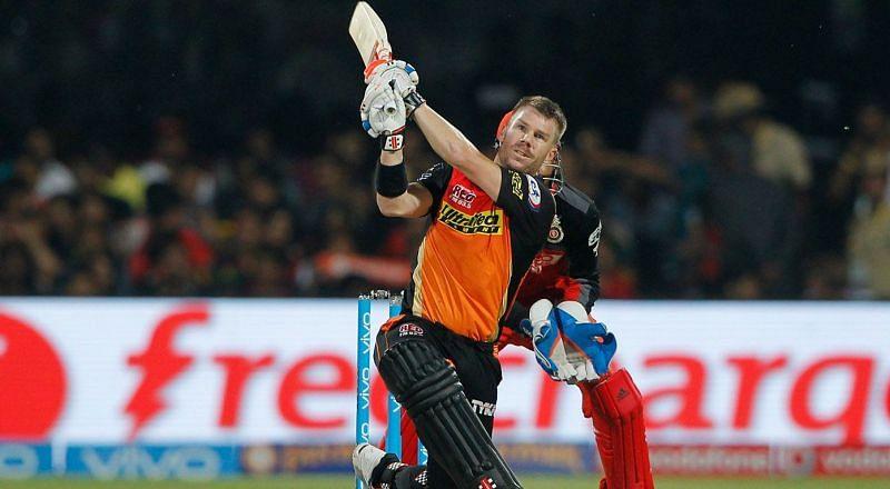 David Warner en route his match-winning innings of 85 in the IPL 2016 final.