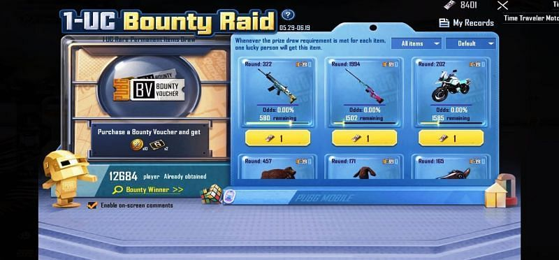 How to win permanent rewards in 1 UC Bounty Raid