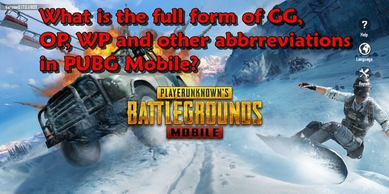 What do the abbreviations GG, OP, WP stand for in PUBG Mobile?