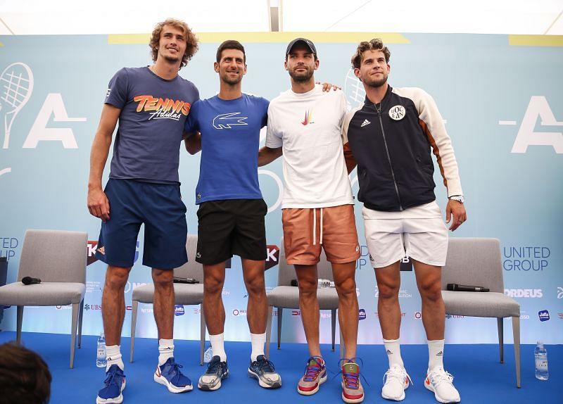 (From L to R) Alexander Zverev, Novak Djokovic, Grigor Dimitrov and Dominic Thiem