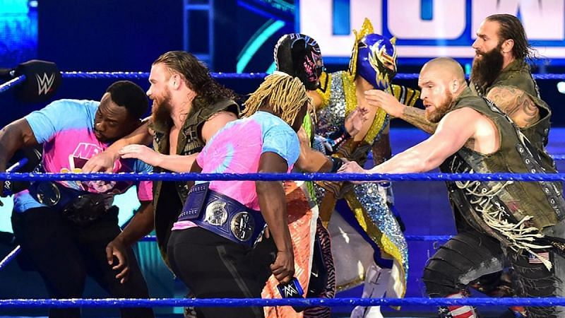 Forgotten Sons brawl with The New Day and Lucha House Party on WWE SmackDown