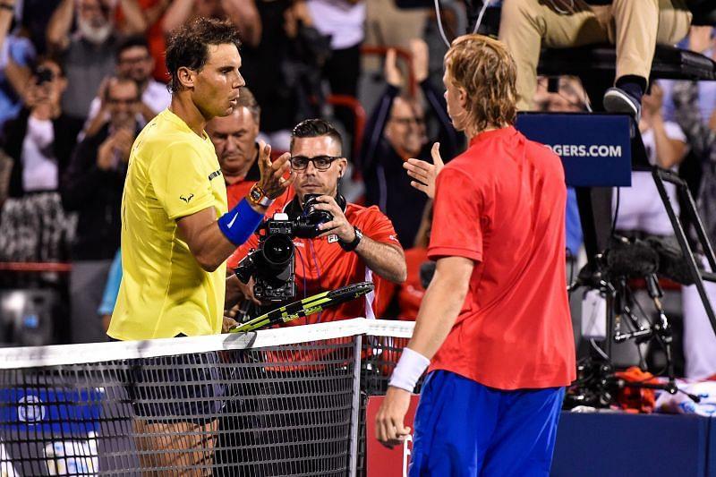 Rafael Nadal (L) and Denis Shapovalov