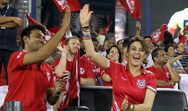 KXIP owners celebrate their victory against CSK in the Qualifier 2 of IPL 2014.