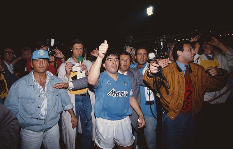 Napoli v Stuttgart UEFA Cup Final 2nd Leg 1989: Diego Maradona celebrates Napoli