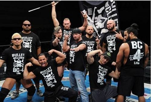 AJ Styles with the rest of the Bullet Club