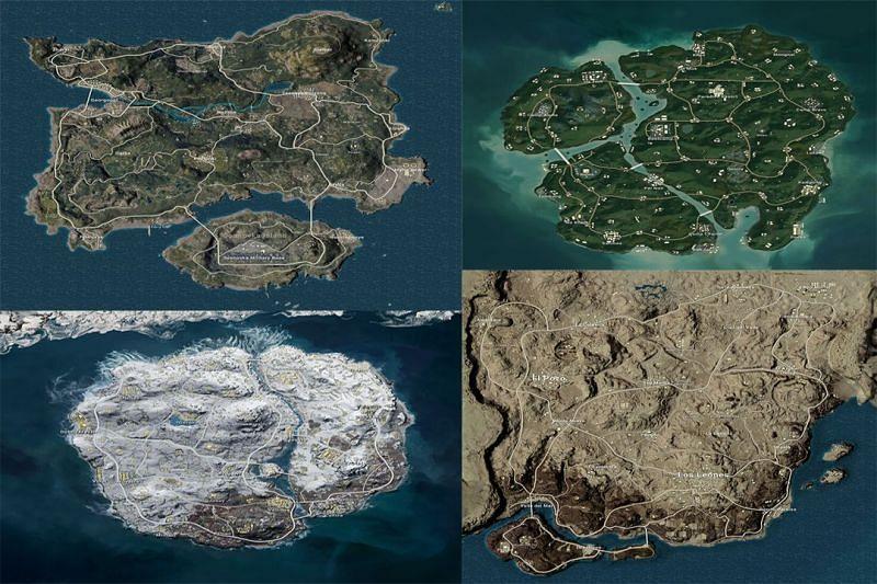 Maps in PUBG Mobile (Image via Sportskeeda)