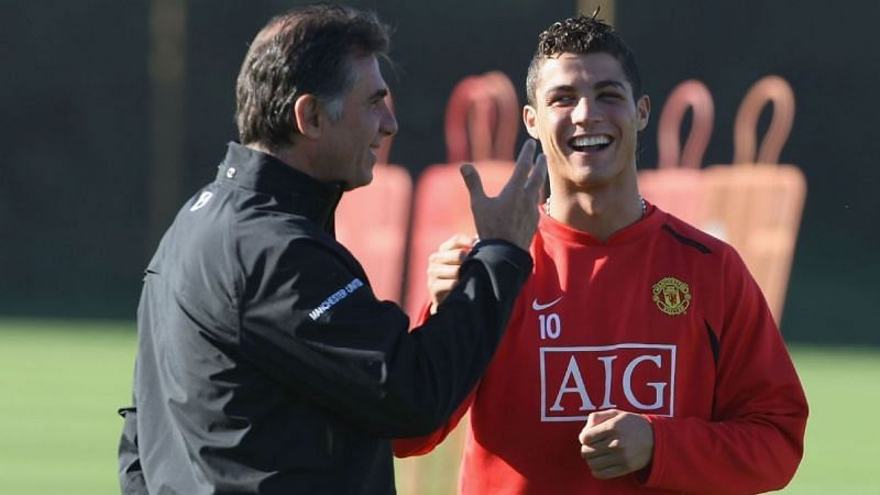 Cristiano Ronaldo (right) and Carlos Queiroz at Manchester United.