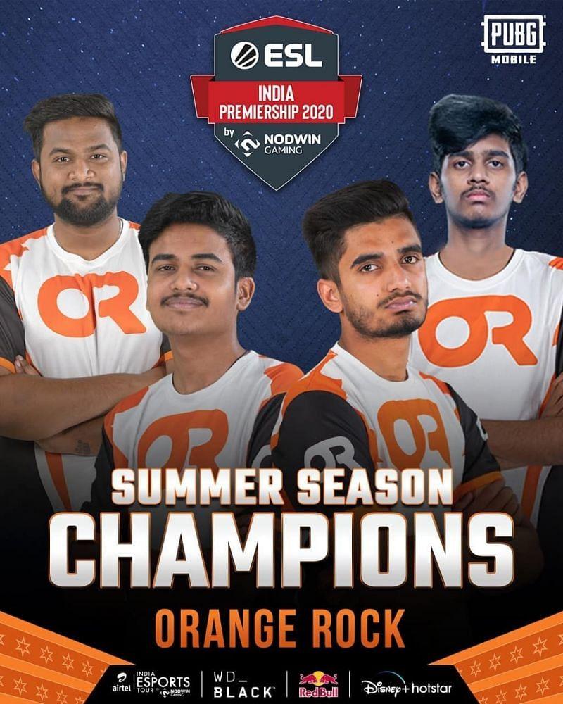 Orange Rock wins PUBG Mobile ESL India Premiership 2020