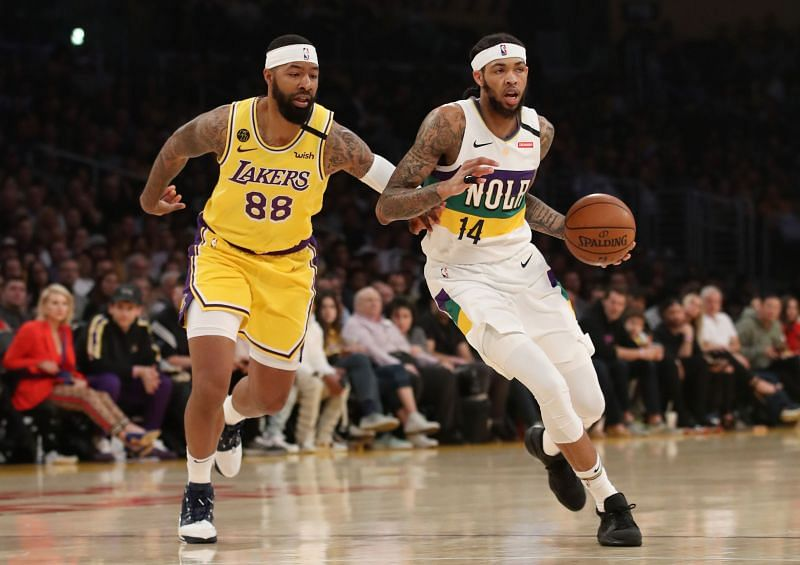 Markieff Morris (left) did not travel to Orlando with the LA Lakers
