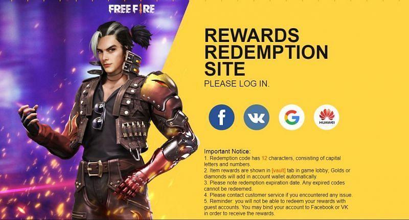 Redemption site (Picture Source: reward.ff.garena.com/)