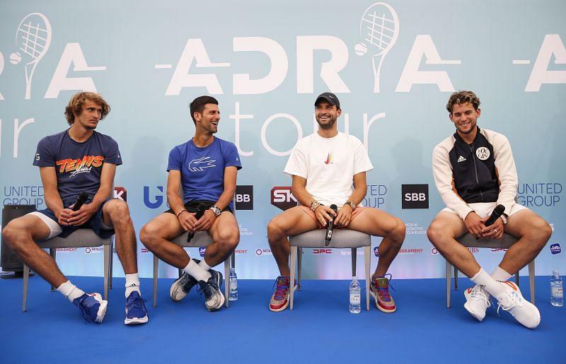 Alexander Zverev (from left), Novak Djokovic, Grigor Dimitrov and Dominic Thiem