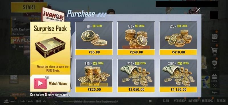 How to purchase BC in PUBG Mobile lite