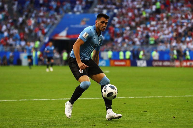 Maxi Gomez playing for Uruguay