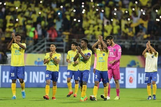 Kerala Blasters players thank the fans after their ISL match last season