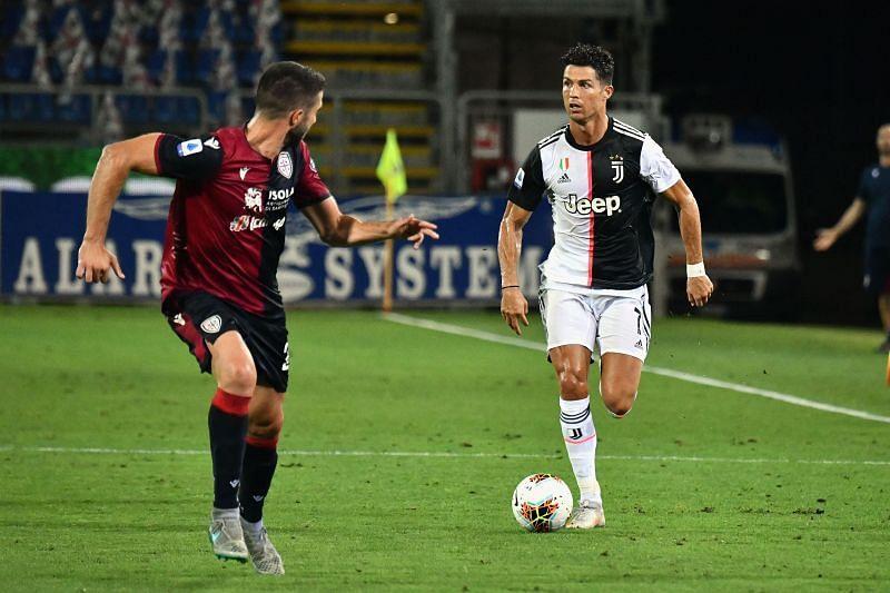 Cristiano Ronaldo in action against Cagliari Calcio