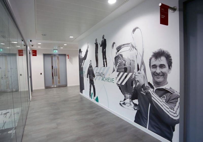 Nottingham Forest has the picture of Brian Clough lifting the European Cup in their tunnel.