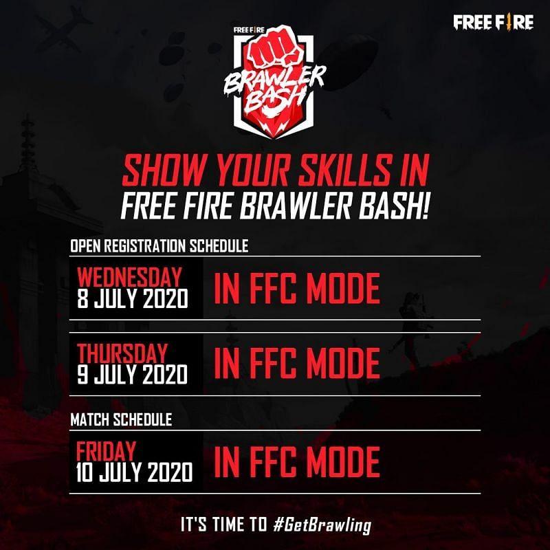 Free Fire Brawler Bash schedule