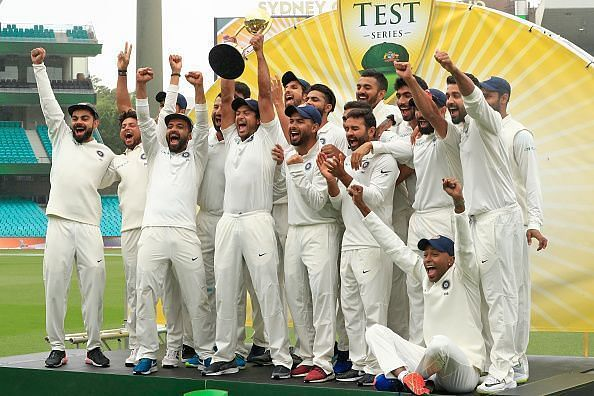 The Indian team defeated Australia in the last Test series Down Under