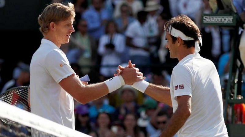 Kevin Anderson and Roger Federer at Wimbledon 2018