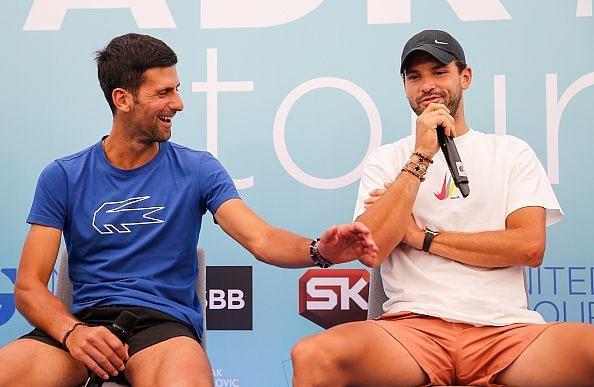Novak Djokovic (L) and Grigor Dimitrov at the Adria Tour
