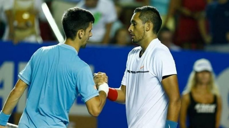 Nick Kyrgios (R) and Novak Djokovic