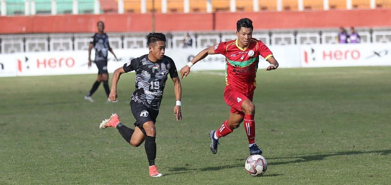 Makan Winkle Chothe (L) in action for Minerva Punjab. (Image : I-League)