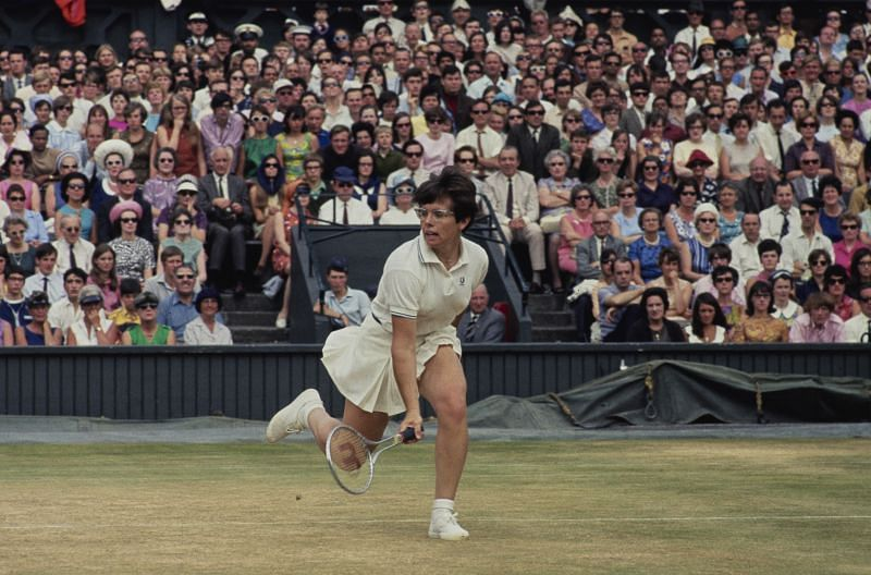 Billie Jean King in action at Wimbledon 1968