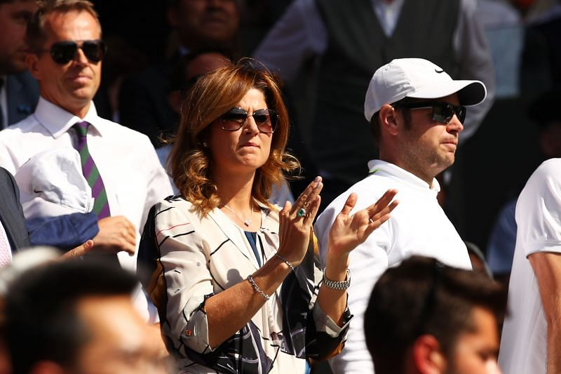 Mirka cheering on her husband, Roger Federer