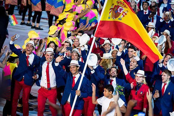 Rafael Nadal carrying the flag for Spain in 2016