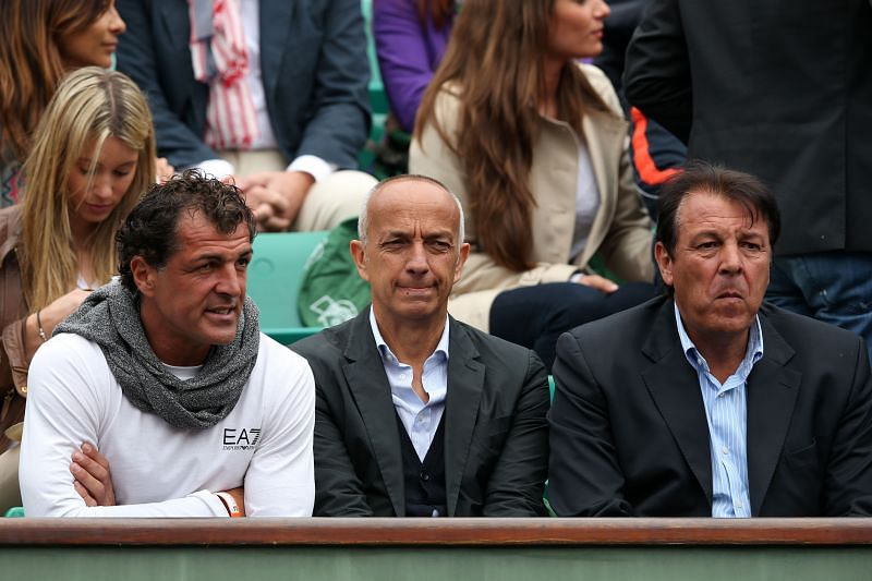 Miguel Angel Nadal (extreme left) watching his nephew Rafael Nadal in action