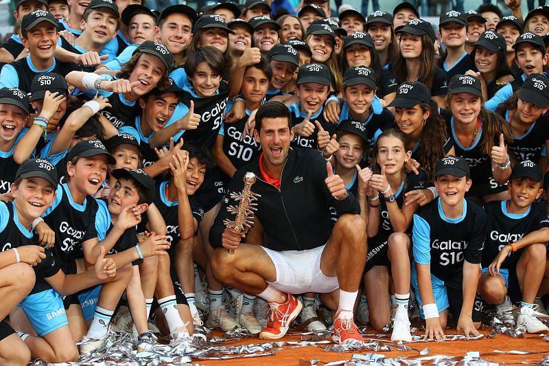 Novak Djokovic celebrates title at 2018 Madrid Masters with the ball-kids