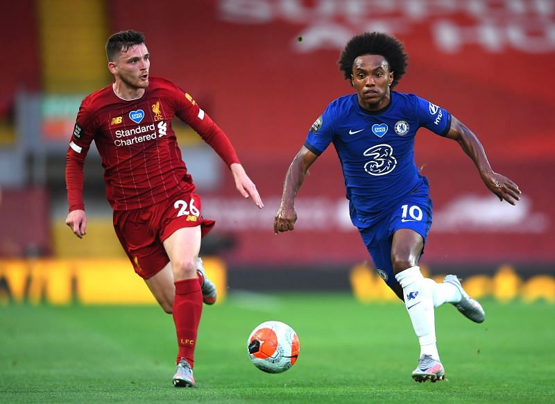 Willian for Chelsea FC against Liverpool FC in the Premier League