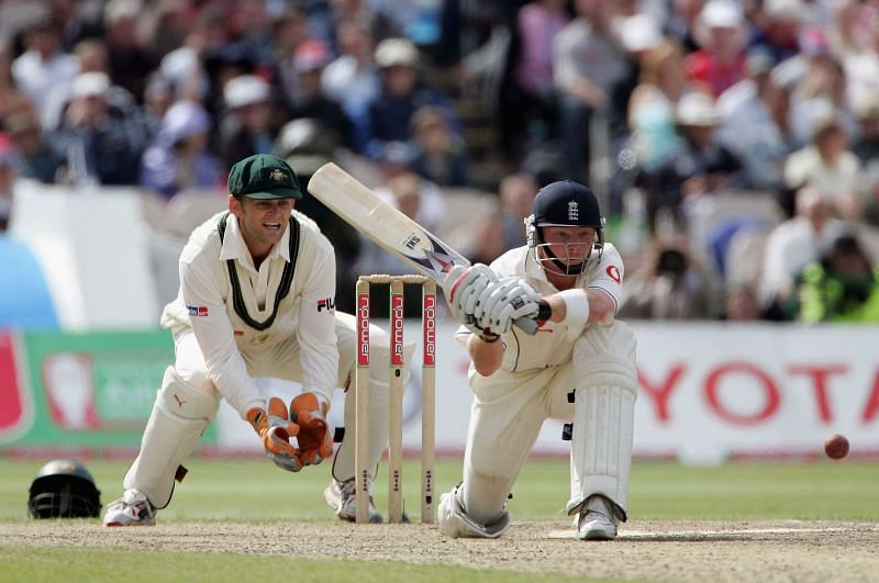 Adam Gilchrist keeping the wickets for Australia during Ashes 2005
