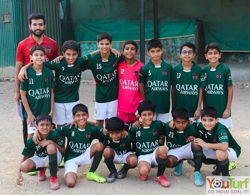 Deep Moorjani with the Kenkre FC U-12 side.