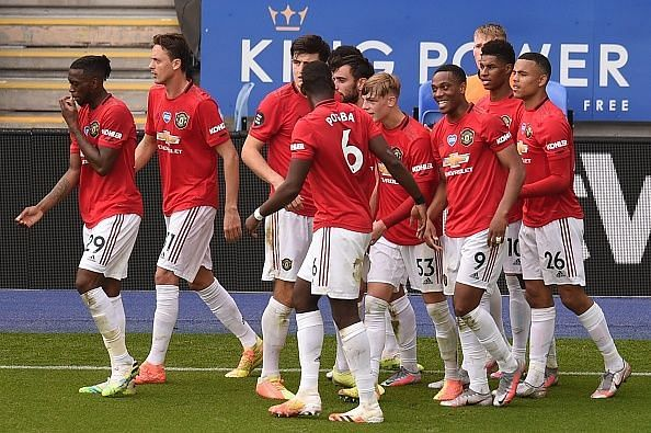 Manchester United beat Leicester City by a goal