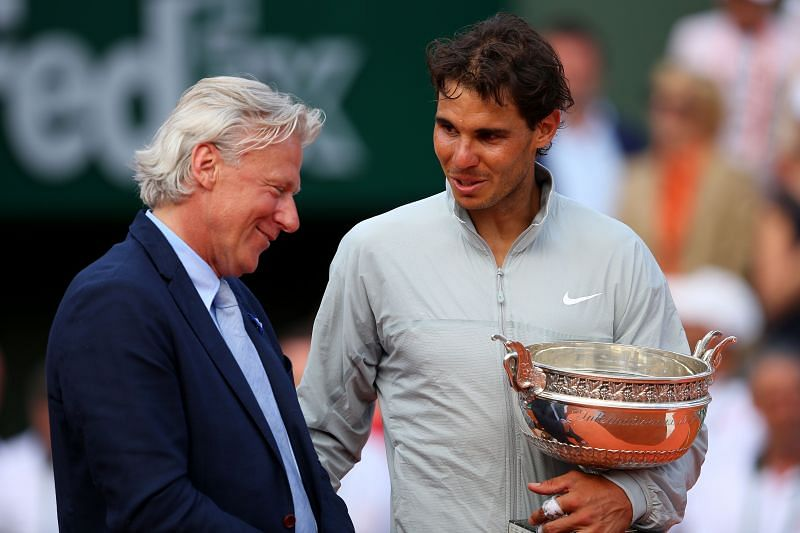 Bjorn Borg (L) and Rafael Nadal at French Open 2014