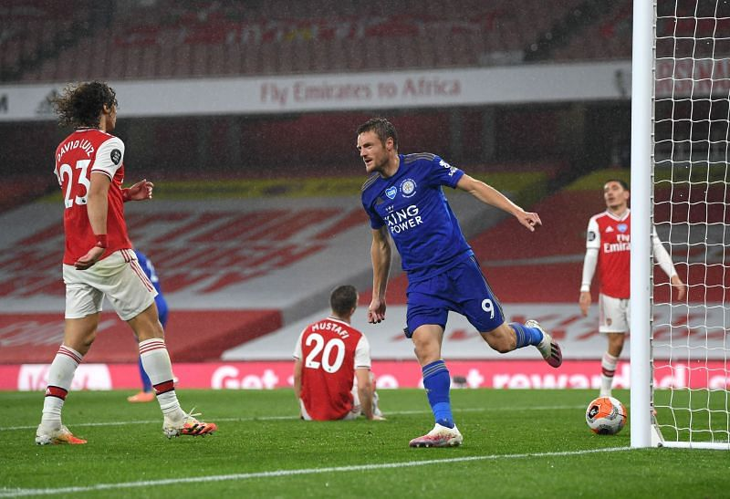 Jamie Vardy scored his 22nd goal of the season against Arsenal
